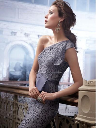 Bow/Applique One Shoulder Mini Sleeveless Lavender Lace Column Sheath Zipper Natural Bridesmaid Dress