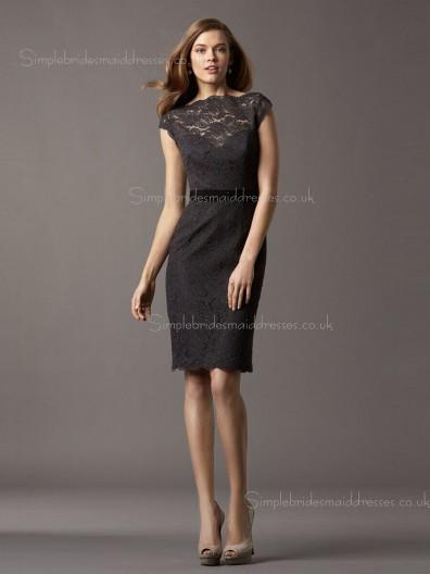 Knee-length Lace Applique/Sash Zipper High Neck Black Cap Sleeve Natural Column Sheath Bridesmaid Dress