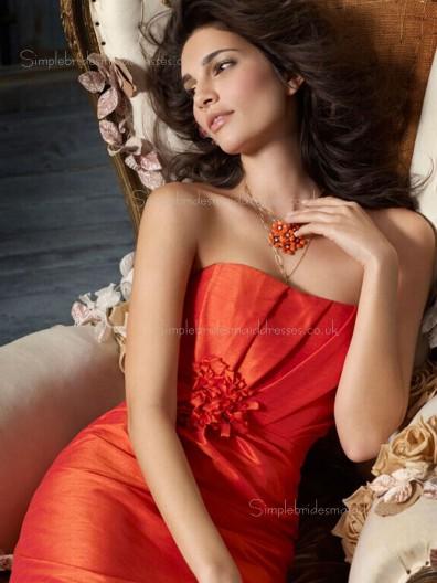 Orange Sleeveless Zipper Flowers Bateau Taffeta Column Sheath Knee-length Empire Bridesmaid Dress