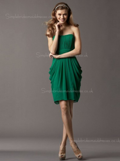 Chiffon Column Sheath Bateau Zipper Dark Green Sleeveless Draped Knee-length Empire Bridesmaid Dress