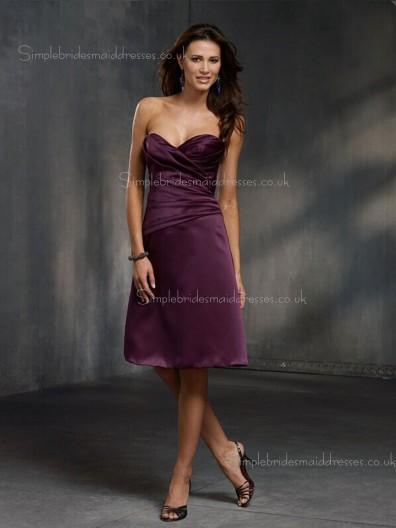 Grape Satin Dropped Zipper Knee-length Sweetheart Draped A-line Sleeveless Bridesmaid Dress