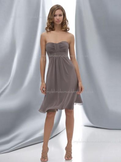 Empire Ruffles Sleeveless Zipper Bateau A-line Chiffon Gray Knee-length Bridesmaid Dress