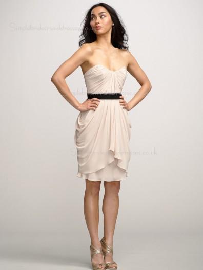 Chiffon Zipper Champagne A-line Knee-length Bateau Draped/Sash Sleeveless Dropped Bridesmaid Dress