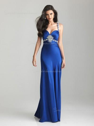 Column Sheath Zipper Satin Empire Floor-length Royal Blue Sweetheart Beading Sleeveless Bridesmaid Dress