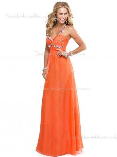 Zipper Sleeveless Column Sheath Chiffon Sweetheart Floor-length Empire Orange Beading Bridesmaid Dress