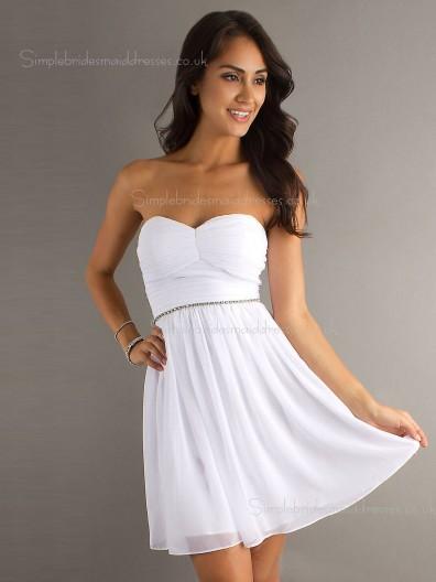 Dropped Sweetheart Chiffon Sleeveless A-line Beading/Ruffles Zipper Mini White Bridesmaid Dress