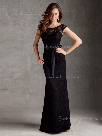 Lace Cap Sleeve Black Bateau Belt Column Sheath Natural Floor-length Zipper Bridesmaid Dress