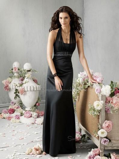 Bateau Empire Column Sheath Chiffon Sleeveless Floor-length Zipper Black Bridesmaid Dress