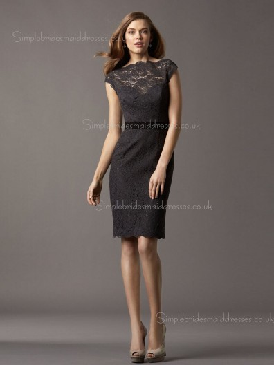 Column Sheath High Neck Cap Sleeve Lace Knee-length Zipper Natural Applique/Sash Black Bridesmaid Dress