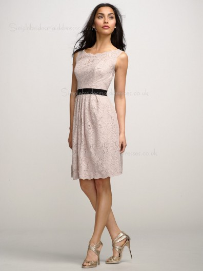 Natural A-line Lace Indy Pink Sleeveless Applique/Sash Backless Bateau Knee-length Bridesmaid Dress
