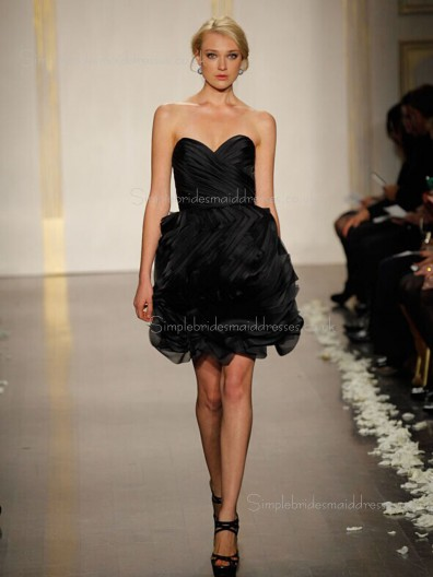 Sweetheart Zipper Short-length Tiered Organza Natural Sleeveless A-line Black Bridesmaid Dress
