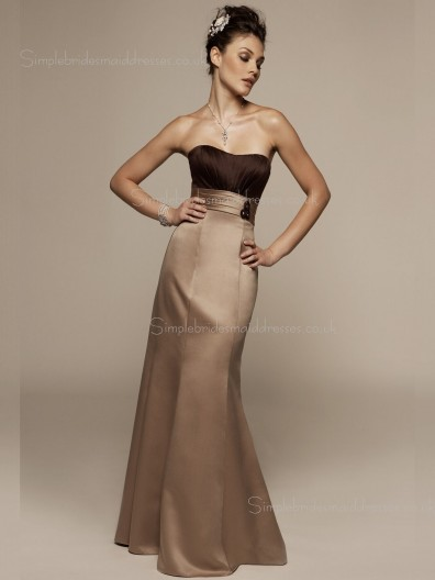 Column Sheath Sleeveless Bateau Empire Chocolate Satin Floor-length Ruffles Zipper Bridesmaid Dress