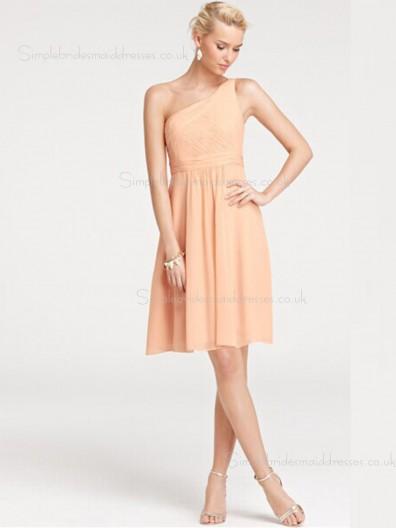 Shoulder Knee-length A-line Sleeveless Zipper Empire Chiffon One Shoulder Ruffles Orange Bridesmaid Dress