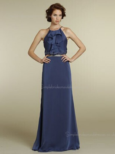 Backless Column Sheath Sleeveless Chiffon Floor-length Natural Tiered/Sash High Neck Blue Bridesmaid Dress