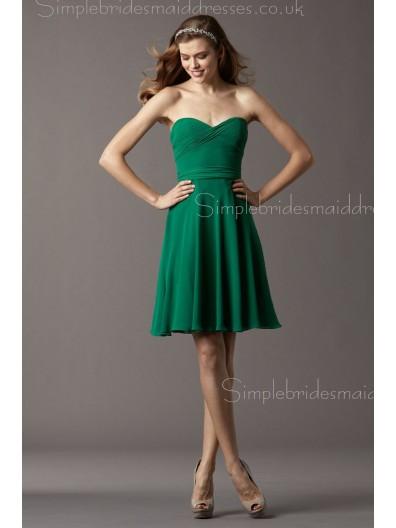 Dark Green Sleeveless Chiffon Natural Zipper A-line Short-length Ruffles/Belt Sweetheart Bridesmaid Dress