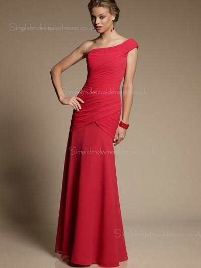 Sleeveless Zipper One Shoulder Dropped Red Draped Column Sheath Chiffon Floor-length Bridesmaid Dress