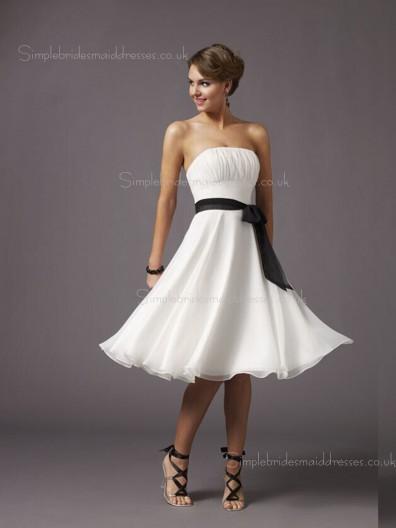 Sash/Ruffles White Knee-length Empire Sleeveless Zipper A-line Chiffon Bateau Bridesmaid Dress