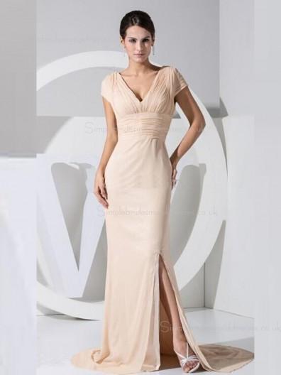 Split/Ruffles Empire Indy Pink Sweep Cap Sleeve V-neck Column Sheath Zipper Chiffon Bridesmaid Dress