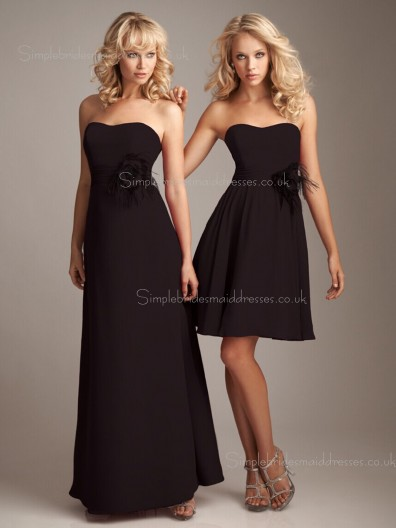Sleeveless Empire Flowers Zipper Chocolate Chiffon A-line Bateau Bridesmaid Dress