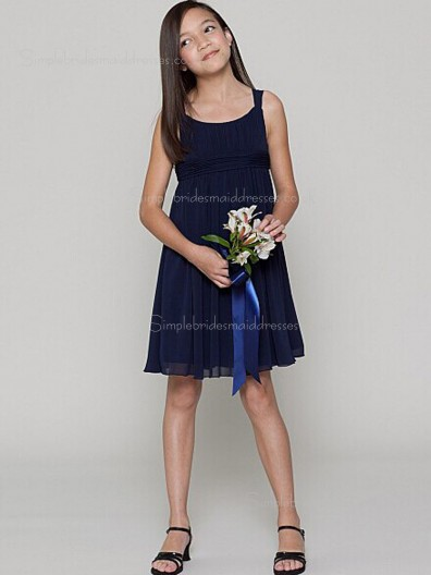 Zipper Knee-length Dark Navy Sleeveless A-line Ruffles Bateau Empire Chiffon Bridesmaid Dress