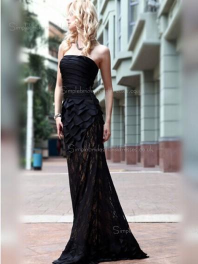 Dropped Dark Navy A-line Bateau Tiered/Ruffles Sleeveless Sweep Satin Zipper Bridesmaid Dress