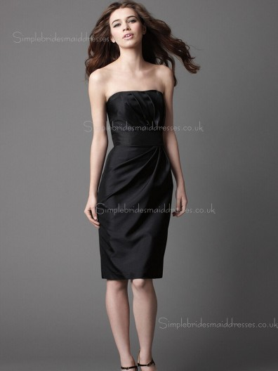 Black Sleeveless Empire Bateau Satin Knee-length Column Sheath Draped Zipper Bridesmaid Dress