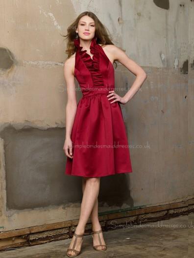 A-line Satin Burgundy Halter Natural Sleeveless Backless Knee-length Ruffles Bridesmaid Dress