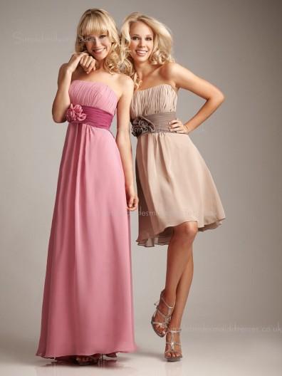 Chiffon Flowers/Ruffles A-line Bateau Backless Empire Sleeveless Bridesmaid Dress
