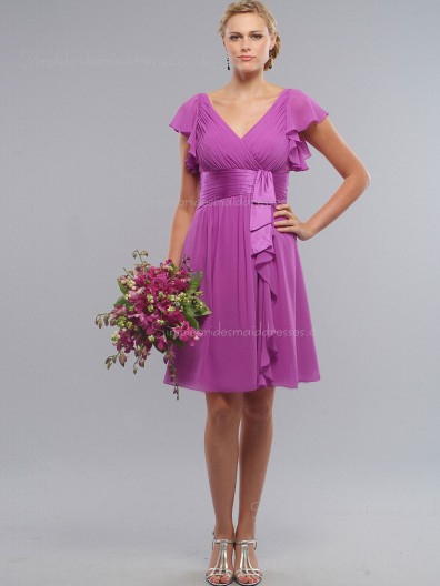 A-line Zipper V-neck Fuchsia Chiffon Empire Knee-length Ruched/Tiered Cap Sleeve Bridesmaid Dress