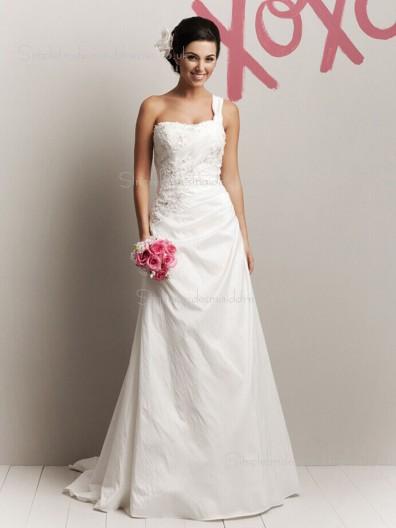 Sweep Sleeveless One Applique / Beading Ivory Shoulder A-line Taffeta Wedding Dress