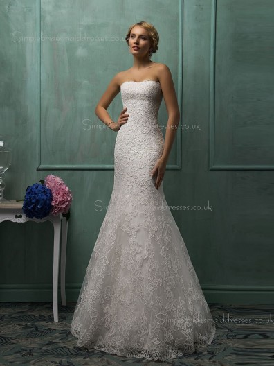 Bateau Organza Mermaid Sweep Sleeveless Ivory Applique Wedding Dress