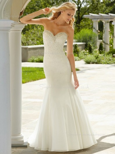 Beading Sweetheart Ivory Floor-length Satin Mermaid Sleeveless Wedding Dress