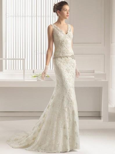 Ivory Sweep Lace Sleeveless Applique / Beading Mermaid V-neck Wedding Dress