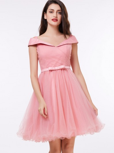 Fitted Romantica Pink Off the Shoulder Pleats Bowknot Bridesmaid Dress