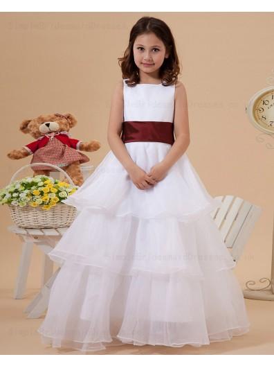A line Zipper Floor length Belt/Ruffles Ivory Organza Square Sleeveless Flower Girl Dress