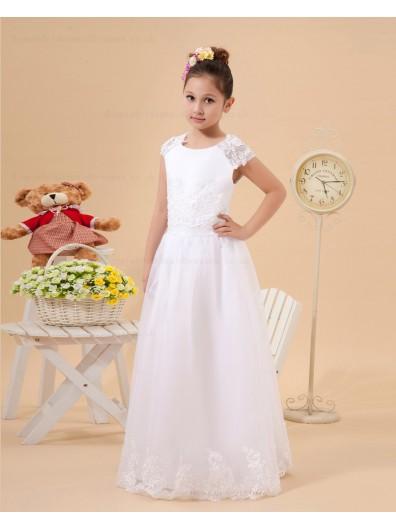 Cap sleeve Ivory Floor length Lace/Applique A line Satin/Organza Scoop Zipper Flower Girl Dress