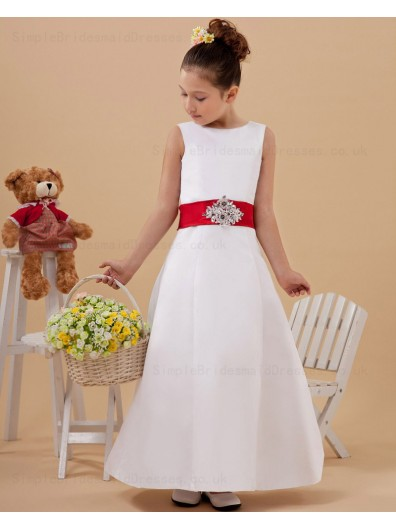 Zipper Satin Sleeveless Belt/Beading/Button A line Ivory Ankle Length Scoop Flower Girl Dress
