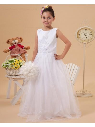 White A line Zipper Scoop Floor length Sleeveless Beading/Applique Satin/Tulle Flower Girl Dress