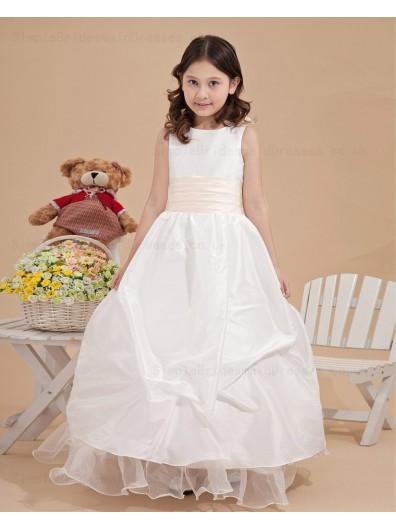 Applique White Ball Gown Taffeta Bateau Zipper Ankle Length Sleeveless Flower Girl Dress
