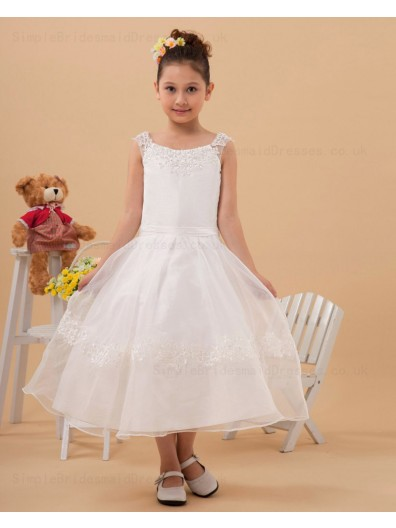 White Ankle Length A line Sleeveless Applique Zipper Bateau Chiffon/Organza Flower Girl Dress
