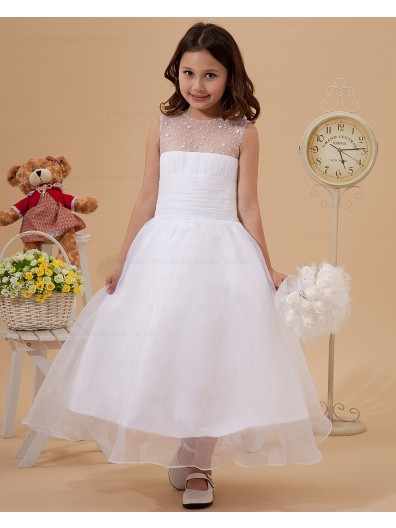 Ankle Length Chiffon/Organza A line Ruffle White Sleeveless Scoop Zipper Flower Girl Dress