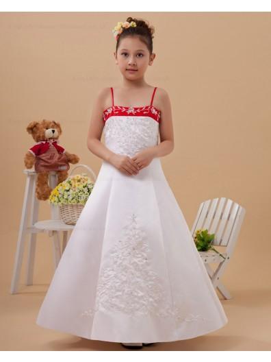 Spaghetti Straps Satin Zipper White/Red Sleeveless A line Floor length Embroidery Flower Girl Dress