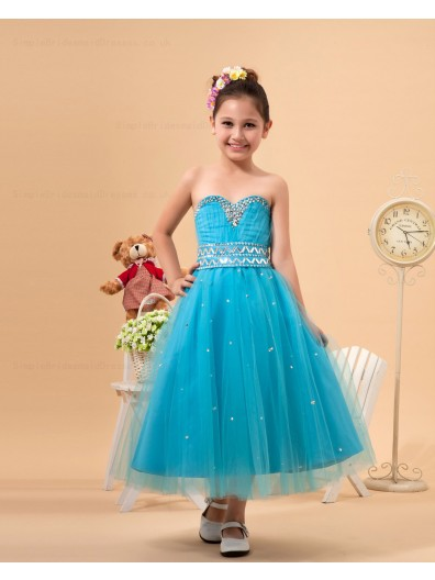 Satin/Organza Beading Ankle Length Sweetheart Hunter Zipper A line Sleeveless Flower Girl Dress