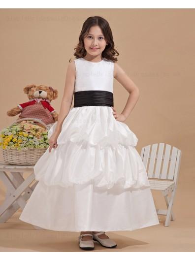 Sleeveless A line Belt/Ruffles Organza/Satin Bateau Zipper Ivory Hand Made Flower/ Ankle Length Flower Girl Dress