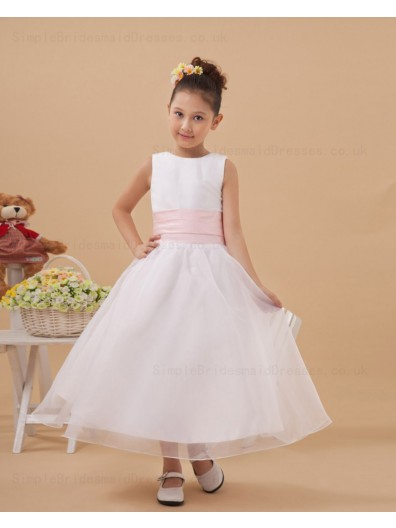 Hand Made Flower/ Belt Scoop Satin/Organza White Ankle Length A line Zipper Sleeveless Flower Girl Dress