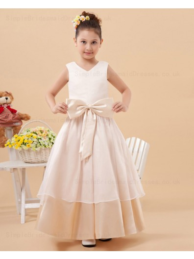 Organza/Satin Sleeveless Bow/Ruffles Zipper A line Floor length V neck White Flower Girl Dress