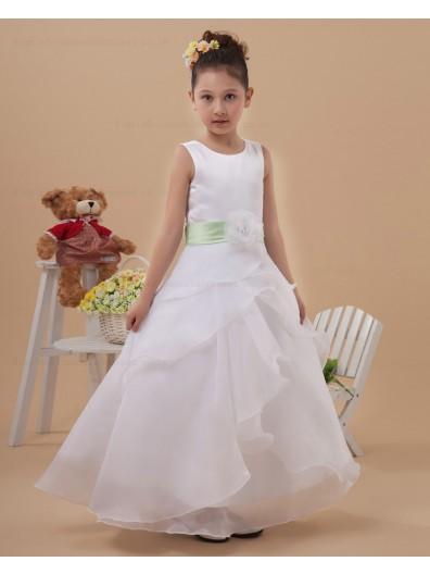Belt Scoop Sleeveless Organza A line White Ankle Length Zipper Hand Made Flower/ Flower Girl Dress