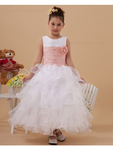 Sleeveless Scoop Hand Made Flower/ Zipper Ankle Length Organza Belt Ball Gown White Flower Girl Dress