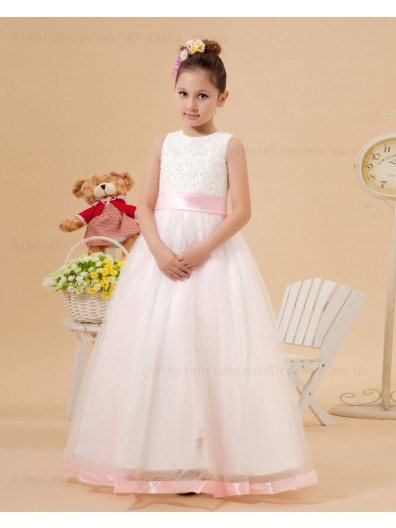 Applique Zipper White Organza Sleeveless Ball Gown Scoop Floor length Sash Flower Girl Dress