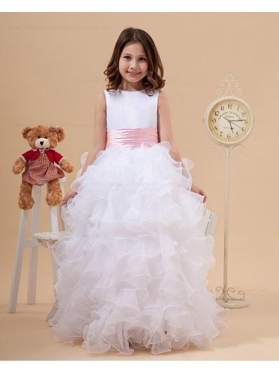 Ivory Scoop Sash/Bow A line Floor length Zipper Sleeveless Satin/Organza Flower Girl Dress